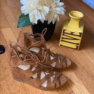 BAMBOO Lace Up Wedges